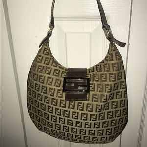 Authentic Fendi logo shoulder bag